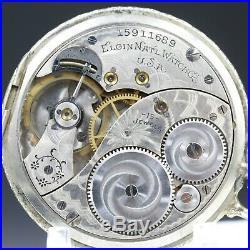 10k White Gold 1911 ELGIN 15 Jewel Pocket Watch 12s Rigid Bow Case Grade 314