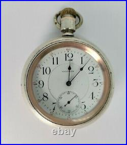 120 YEAR OLD WALTHAM VANGUARD 23j STERLING CASED OPEN FACE 18s RR POCKET WATCH