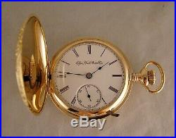 125 YEARS OLD ELGIN 14k GOLD FILLED HUNTER CASE 18s GREAT LOOKING POCKET WATCH