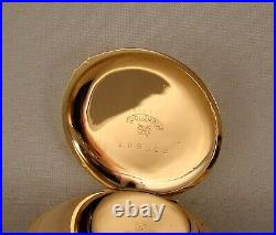 125 YEARS OLD WALTHAM 14k GOLD FILLED HUNTER CASE FANCY DIAL GREAT POCKET WATCH