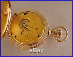 131 YEAR OLD WALTHAM 14k GOLD FILLED HUNTER CASE GREAT LOOKING 18s POCKET WATCH