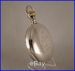 136 YEARS OLD WALTHAM STERLING COIN SILVER HUNTER CASE SIZE 18s POCKET WATCH