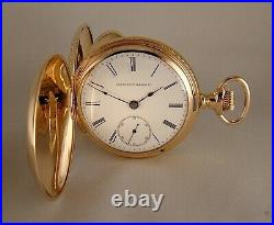 138 YEARS OLD ELGIN 14k GOLD FILLED HUNTER CASE SIZE 18s GREAT POCKET WATCH