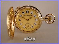 141 YEARS OLD ELGIN 17j 14k SOLID GOLD HUNTER CASE FANCY DIAL GREAT POCKET WATCH