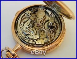14K G Quarter repeater&stopper erotic automaton hunter case pocket watch- ca1900