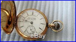 14K Gold Diamond Hunter case Hampden Pocket Watch 18s 135.5 gr. $2200+ scrap