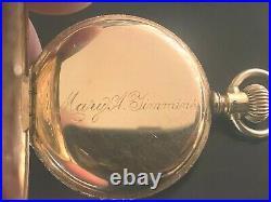 14K Multi-Color Solid Gold Elgin Hunter Case Pocket Watch, 40mm heavy case