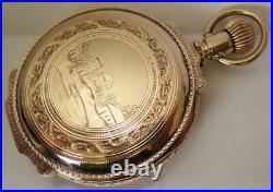14k Gold 18 size Illinois Grade 101 Box Hinge Hunter Case Pocket Watch 145 Grams