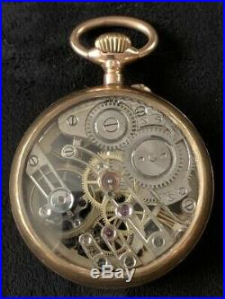 14k Gold Skeleton Pocket Watch Pin Set French Hallmarks on Case