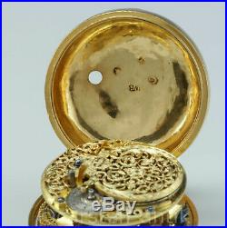 1718 William Bowtell, London, 54 mm, 22k gold Large pair case verge fusee pocket