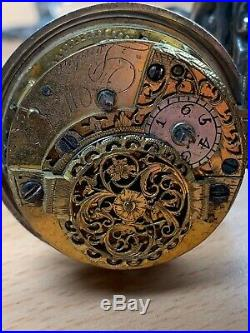 1775 Silver Pair Case Square Pillar Verge Painted Dial Chatelaine Pocket Watch