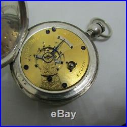 1873 Elgin Chas Fargo Coin Silver KW Key WInd Hunter Case Pocket Watch Early