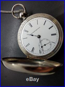 1885! Elgin Men 18s Antique Pocket Watch Superb Case Key Wind Key Set Works