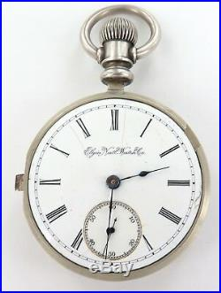 1890 Rare Pair Cased Only 69000 Made Elgin G M Wheeler Silver 18s Pocket Watch