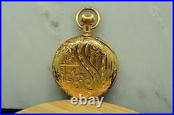 1891 Elgin Pocketwatch 13 Jewel Size 0 Fancy 14k Yellow Gold Hunter Case