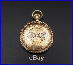1893 14k White Yellow Rose Elgin Hunter Keystone Case Pocket Watch 0s 7j W317