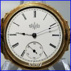 1893 Elgin Victorian Aesthetic Design Engraved GF 6s Hunter Pocket Watch Case