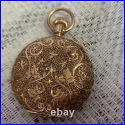 1895 Elgin Grade 131 Solid 14K Gold Scalloped Case Pocket Watch
