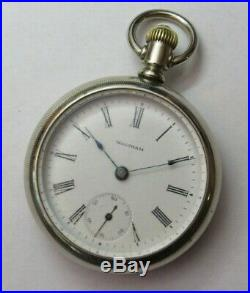 1898 American Waltham 18 Size Pocket Watch In Silver Case Running & Keeping Time
