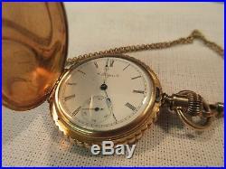 1899 Elgin 7 Jewels 6S Pocket Watch Fob Chain 10k Gold Ladies Orient Case Hunter
