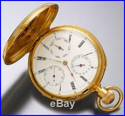 18K Gold Hunter Case Pocket Watch Day Date & Time Dial 16 Jewel 16 Size CA1885