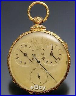 18K Gold M. J. Tobias Captains Pocket Watch with George Washington Portrait Case