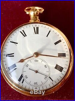 18 K Gold 1815 Joseph Johnson Eng. Pair Cased Fusee Watch Time Keeper Near Mint