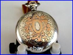 18 SZ Elgin Pocket Watch in 2Tone Sterling Silver Case- Serviced Runs Good- 7J