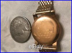 18k Solid Gold Caseold Working Huguenin Wind-up Mans Wrist Watch-all Original