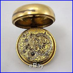 18th Century Pair Cased Gilded Pocket Watch Chater and Sons London
