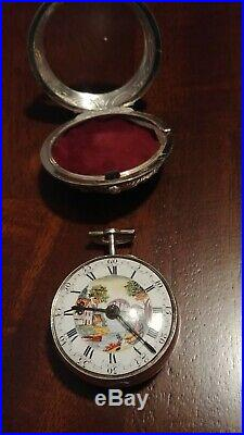 18th Century paired case verge fusee pocket watch