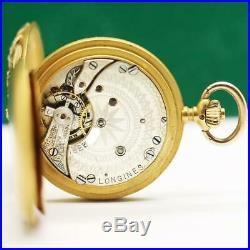 1900's LONGINES GRAND PRIX PARIS 18K GOLD AND DIAMONDS CASE PENDANT POCKET WATCH