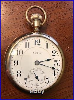 1904 Elgin 18s Veritas 23j Mdl 8 Pocket Watch Ruby Gold Set Fahys Montauk Case