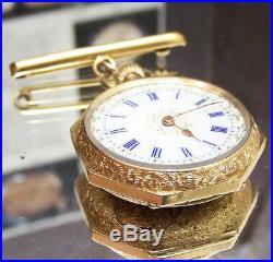 1910 Antique Vintage Enamelled Case Solid 18k Gold Watch & 15k Brooch Rare Dial