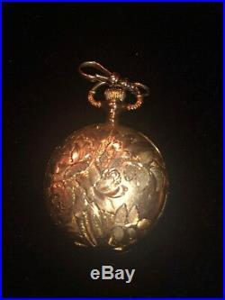 1912 Elgin Solid 14 Kt. Gold Floral Engr Pocket Watch, 15 Jewels-Hunter Case