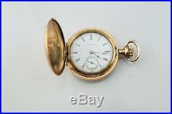 1914 Gold Filled 14k 25Y Ornate Philly. Hunting Case Elgin 0s 7j Pocket Watch