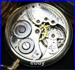1918 Hamilton Grade 910 12s 17j Pocket Watch GF Swing-Out Case Runs