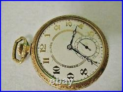 1920 ILLINOIS POCKETWATCH 17 JEWEL SIZE 12s -FANCY GOLD FILLED CASE -NO CRYSTAL