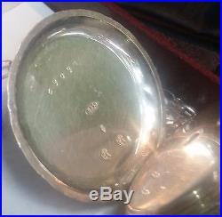 19th C. Swiss POCKET WATCH 935 Silver Case Key wind Cylinder Movement