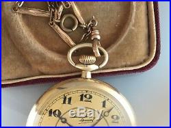 21 Jewel Santa Fe Special. Triple signed, Dial, Movement and Case with Chain & Box