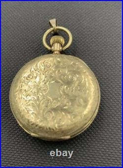 9ct Gold Pocket Watch / Pendant For Repair Engraved Case In Good Condition
