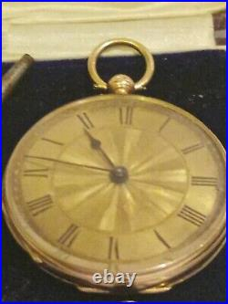 ANTIQUE 14CT GOLD POCKET WATCH. Open Face. 30.6 grams CASED. Key wind. WORKING