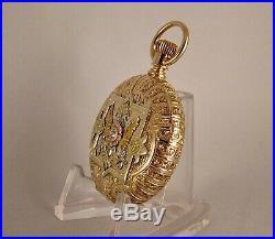ANTIQUE WALTHAM 14k MULTICOLOR SOLID GOLD HUNTER CASE FANCY DIAL POCKET WATCH