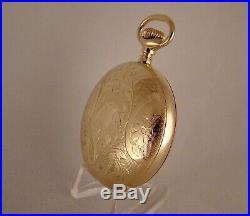 ANTIQUE WALTHAM BARTLETT 14k GOLD FILLED HUNTER CASE FANCY DIAL 18s POCKET WATCH