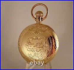 ANTIQUE WALTHAM Wm. ELLERY 14k GOLD FILLED HUNTER CASE FANCY DIAL 18sPOCKET WATCH
