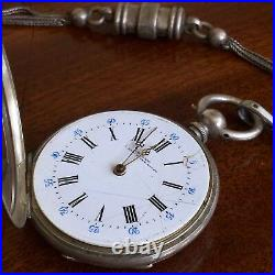 A Silver Pocket Watch And Chain, Enamel Dial And Farming Engraved Case, c. 1905