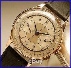 Ancienne montre CHRONOGRAPHE en OR 18k 950 vintage watch 37mm SOLID GOLD CASE