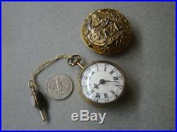 AntiqeGilded Miniatur Repousse pair case Verge Fusee London watch Melling 1700s