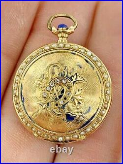 Antique 14K Gold Swiss Pocket Watch Case ONLY Blue EnamelDiamonds & Seed Pearls