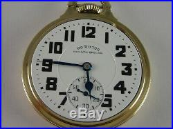Antique 16s Hamilton 992B Rail Road pocket watch. 1941 Gold filled Wadsworth case
